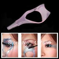 5pcs pink 3 in1 Make up  Eyelash Mascara Applicator Guide Guard Comb Cosmetic Brush Curler Wholesale