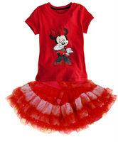 Free shipping 2013 New,minnie mouse t shirt+tutu lace skirt set baby girls' Dress 2 pcs set, cartoon  tutu skirt  Dress