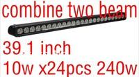 free ship 39.1 inch USA 10w creex24PCS 240w superlightled light bar offroad driving ATVs SUV work truck light