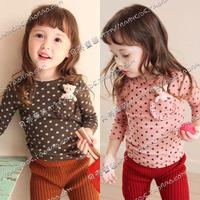 2014 Direct Selling Real Freeshipping O-neck Cotton Spring Polka Dot Pocket Bear Girls Clothing Baby Long-sleeve T-shirt Tx-0717