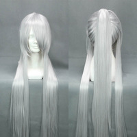 New hot selling 90cm silvery white single long ponytail classic party costume cosplay wig.synthetic hair.free shipping