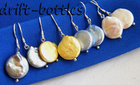 4Paris Gray Champagne Blue White Coin Freshwater Pearl Silver Dangle Earring