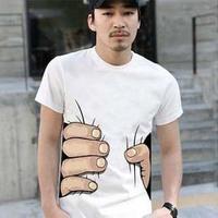 Fashion Funny Big Hand Got You Pattern Printting Summer T Shirt /Tops O-neck Cotton Short-sleeve T-shirt Mens/Lovers