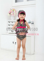 FREE SHIPPING----children swimsuits girl's bowknot pretty swimwear kid's sexy leopard print two pieces bathing suits 1pcs s1110