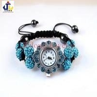 Free shipping.wholesale pave crystal rhinestone Oval with clay 8beads shamballa wrist watch Bracelet.jewelry.turquoise WB0025