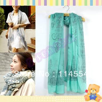 Women's Fashion Lady Warmer Printing Thin Cape Scarf Shawl 4 Colors 9624