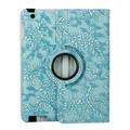 Синий Фолиант 360 Вращающийся Стенд Smart Крышка С Тиснением Цветок Роскошный Кожаный чехол для iPad 2 3