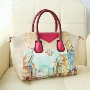 Free ship Bags 2013 autumn women's handbag doodle smiley vintage shoulder messenger bag fashionable casual portable message bag