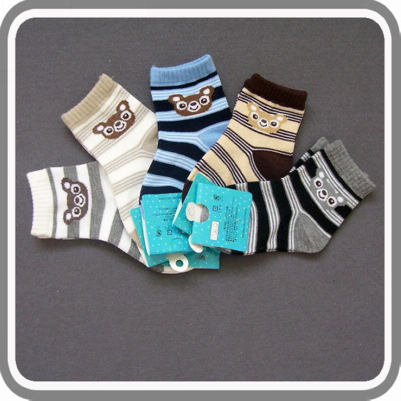 Tw-396 male female child socks spring and autumn 100% cotton boneless sock stripe bear student socks(China (Mainland))