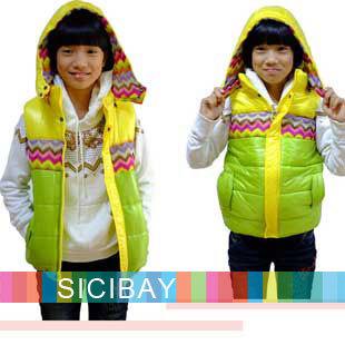 Fashion Designer Kids Outerwear,Girls Winter Beautiful Vests,Cotton,Free Shipping  K0251