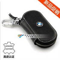 New BMW leather car key holder zipper key bag cases round side