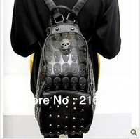 New 2014 Fashion Black Punk Style Skull Rivet Leather Women Backpack Unique Vintage Casual Women School Backpacks