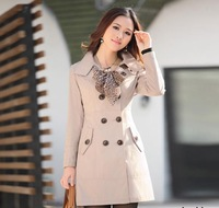 Hot Sale Autumn 2012 Women Long Trench Double-breasted Crew Neck Outwear Three Color Coat M-XL