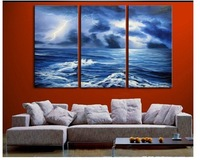 hand-painted Lightning waves Wall Decor Modern Landscape Oil Painting on canvas 3p