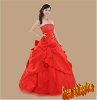 Clothing clothing wedding dress train tube top wedding  red dress