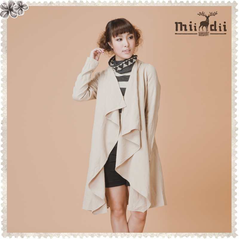 Free shoping Women's - medium-long trench 21me0136(China (Mainland))