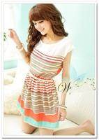 Women's Dresses Colorful Stripes Chiffon Mini Dress Free Bowknot Belt 2014 summer New W3188