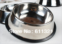 "Pet Supplies Stainless Steel Bowl Travel Dog Cat Food Water Bowls Feeding Dish NON-Skid New 5.9"" #3217"
