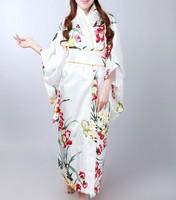 Fashion White Vintage Yukata Japanese Haori Kimono Obi Evening Dress one size Free Shipping H0042