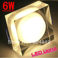 10pcs/lot Free shipping of fedex Round 6w LED ceiling light / LED Acrylic Ceiling / 6W Crystal Light / Decorative Light
