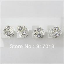 Wholesale 12pcs Lot 12mm Butterfly Clear Crystal Hair Twists Spirals Pins Wedding Women Hair Jewelry Fee
