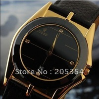Free shipping.Luxury crystal watch,quartz watch, Wrist Watch Gentleman Watch,Genuine leather