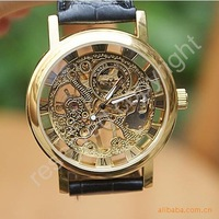 Free shipping.Luxury automatic mechanical movement hollow Wrist Watch Gentleman Watch