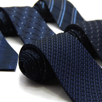 Brand New Necktie 100% Silk ties formal commercial blue silk plaid male tie Free shipping