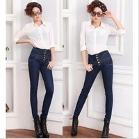Free shipping Autumn and winter 2013 women's high waist slimming buttons style jeans pencil pants skinny pants