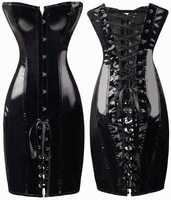 Brand New Shiny PVC Corset Dress Hot Sale Lace up Back Bustier With G-string