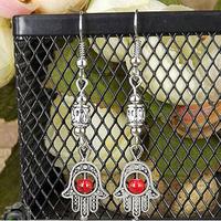 "12pcs Vintage Silver fatima&hamsa Hand Earring,Tibet Silver ""Lucky Hamsa"" Kabbalah Amulet Hamsa Charm Bead Long Earring Jewelry"