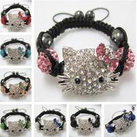 Newest! Wholesale 20Pcs/Lot Handmade Crystal Beads Children Baby Kids Bracelets Hello Kitty Shamballa Bracelets Bangles