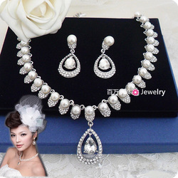 Free shipping! Vintage pearl beads rhinestone bridal necklace earrings set jewelry set(China (Mainland))