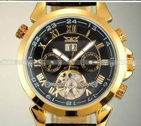 2014 Luxury Mechanical Watch Auto Flywheel Men's Watches Black Dial Wristwatch Free Shipping