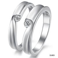 Valentine's Day gift titanium steel Accessories jewelry silver platinum rhinestone lovers ring couple ring dj903