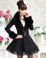 Autumn and winter black turn-down collar organza elegant thick wool coat