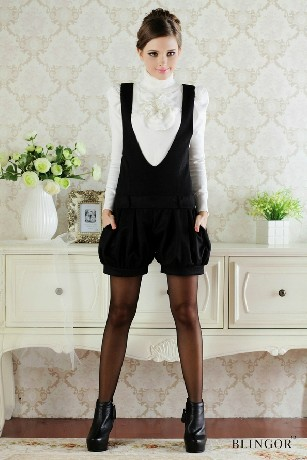 Free shipping 2012 autumn Black silver all-match deep V-neck vest bloomers(China (Mainland))