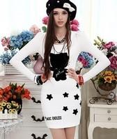 Free shipping 2012 autumn slim waist print cat long skirt t-shirt