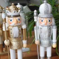 Nutcracker 35cm nordic wood gold and silver christmas gift 2