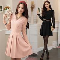 New 2014 Hot Sale Women's Polka Dot Transparent Long Sleeve Work Wear Dress With Belt,Plus Size Women Clothing