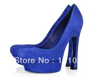 New style women's shoes blue suede leather party shoes platform shoes High Heels free shipping