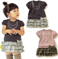 Free life style girl dress/ Shirt with jewelry necklace+cake dress with bowknot/2 color:pink and purple