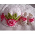 Newborn Baby Doll Booties Slippers Crib Shoes Crochet Shoes & Hat Set(China (Mainland))