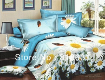 White Daisy Butterfly Bedding Bedroom Set Duvet Doona Cover Set Queen Full 4PC with Sheet,Quality Cotton Twill Style-2013 Latest
