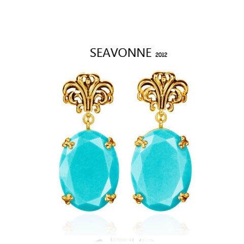 Freeshopping 2012 new fashion vintage Blue Turquoise crystal Earrings E6505(China (Mainland))