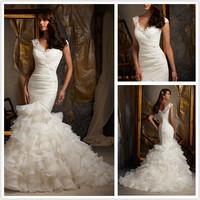New Design TR-246  Elegant Mermaid Sweetheart  Beaded  Lace Organza White/Ivory  Wedding Dress VESTIDO DE NOIVA