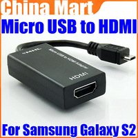 MHL HDMI Micro USB to HDMI Cable Adapter 1080p 3D video HDCP For Samsung Galaxy S2 Free Drop Shiping