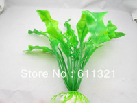 "Aquarium Decorative Green Plastic Plant Grass Fish Tank Landscape Decoration Ornament 8.3"" Free Shipping V3250"