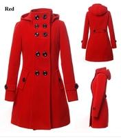 Free Ship Women's Winter Wool Coat Trench Hooded Cashmere Long Jacket Outwear