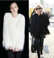 2012 fashion 4inches Long Hairy Full Sleeve Black Shaggy Faux Fur Jacket Coat celebrity for women famale